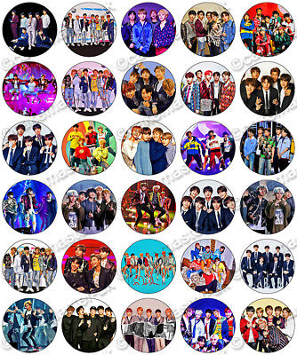 30 x BTS Music Fun Party Edible Rice Wafer Paper Cupcake Toppers