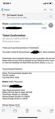 Drake: The Assasination Vacation Tour Seated Tickets - 9th Of April