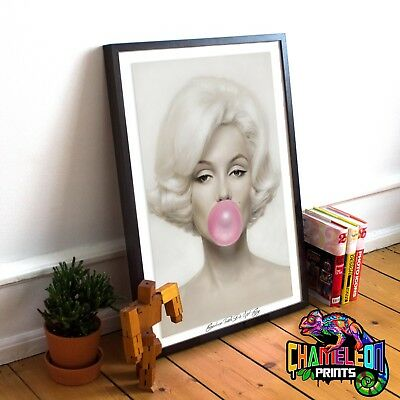 Marilyn Monroe Bubblegum Poster Print In A3 A4 Marilyn Monroe Post