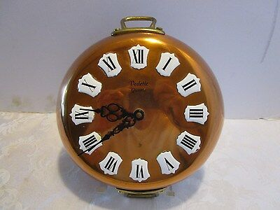 """Vintage Solid copper French made Wall Clock Enameled # Vedette 10"""" tall"""