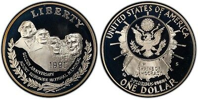 """1991 S PROOF """"Mount Rushmore"""" Commemorative Dollar , 90% Silver, US Coin"""