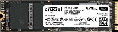 Crucial P1 500GB SSD PCIe NVMe M.2 2280 3D NAND CT500P1SSD8 Solid State Drive