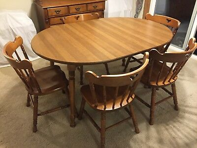 Tell City Dining Table 5 Chairs Hutch Hard Rock Maple Andover Finish