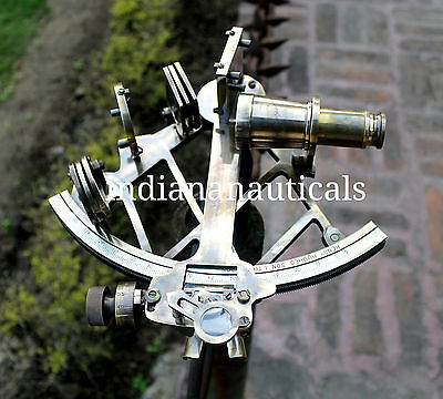 "Solid Brass Sextant Vintage Maritime Ship Working Instrument Astrolabe Gift 9""."