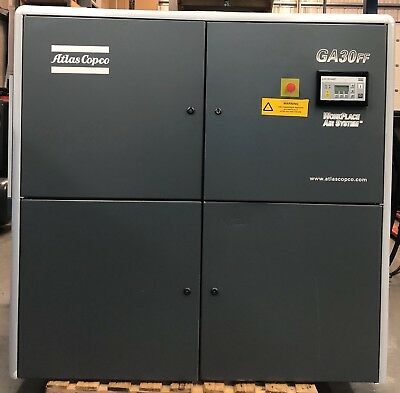 Atlas Copco GA30FF Rotary Screw Compressor With Dryer! 30Kw, 197Cfm! Great Order