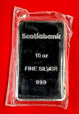 Scotia Bank 10 oz .999 Scotiabank Silver Bar - Perfectly Sealed - SALE