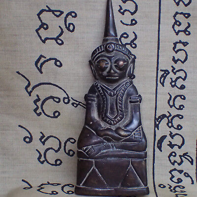 Bucha Statue Phra Chai Ngang Khmer from Cambodia Buddha Carved Figure Holy 112mm