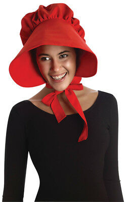RED PILGRIM LADY Bonnet Colonial Quaker Hat Cap Adult Costume ... 16802e79c64