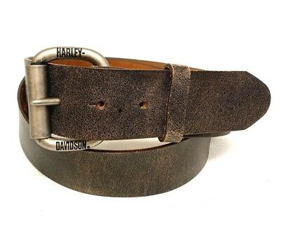 Harley Davidson Roller Buckle Genuine Leather Belt Vintage Brown Made in USA 36""
