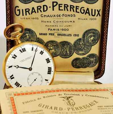 Authentic 1910' Girard Perregaux 18K Solid Gold Unique Pocket Watch Box & Papers