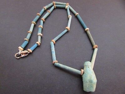 NILE Ancient Egyptian Royal Crown Amulet Mummy Bead Necklace ca 600 BC