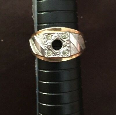 Vintage  18KT HGE ESPO Gold Plated Ladies Men's Ring Size 9.5 Two toned  Cz