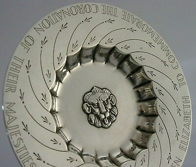 RARE SOLID SILVER ROYAL COMMEMORATIVE DISH 1936 KING GEORGE VI HEAVY 141g