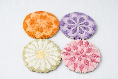 "5"" Round Linen Hooked Rug - ""Floral Geometric"" Coasters (4) *PATTERN ONLY*"