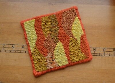 """5"""" x 5"""" Linen Hooked Rug - """"Maine Mountains Abstract"""" -Coasters(4)*PATTERN ONLY*"""