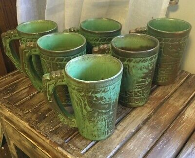 Antique Prairie Green Mayan-Aztec Frankoma 7M 12 Oz Mugs, Set Of 6, Circa 1949