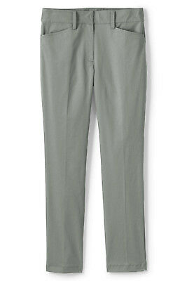 Lands' End NWT Women's Petite Mid Rise Chino Straight Leg Pants Grey MSRP $59.95