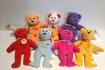 38594d628a3 Ty Teenie Beanies McDonalds Happy Meal 25th Anniversary Lot of 7 Bears