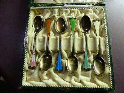 Vintage antique sterling silver 925 Small Enamel coffee Spoons X 6