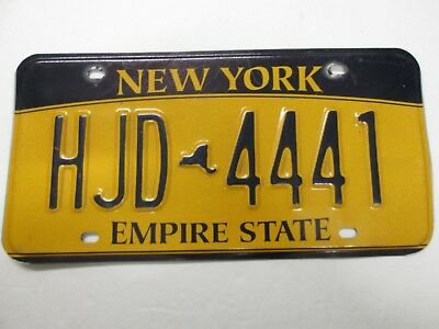 NEW YORK LICENSE PLATE. TRIPPLE 4. EMPIRE STATE. 2010 Base. # HJD 4441.