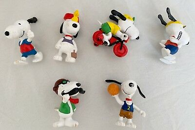 1958/1966 United Feature Snoopy Figure Lot 6 Vintage Peanuts VG