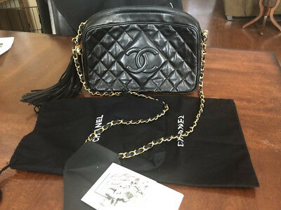 ea1c3950349a Chanel Vintage Black Quilted CC Lambskin Leather Camera Shoulder Bag