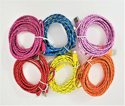 10 FT Braided 8 Pin USB Charger Data Sync Cable Cord for iPhone 5 5S 6 6S 6+ 7