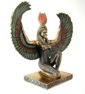 "Egyptian Kneeling Winged Isis H: 8"" W: 9"" Portrayed in Cold Cast Bronze"