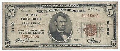 1929 $5 Fostoria, OH National Currency Bank Note Bill Ch. #9192 Fine Type 1 OHIO