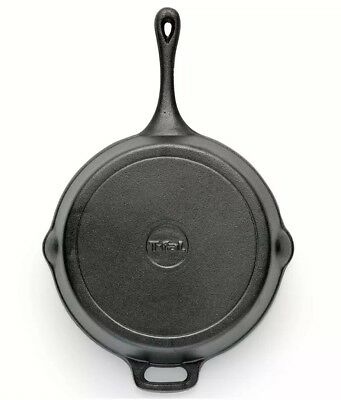 T-FAL CAST IRON SKILLET Pre Seasoned Frying Cookware Pot Oven Cooking 10.25 inch