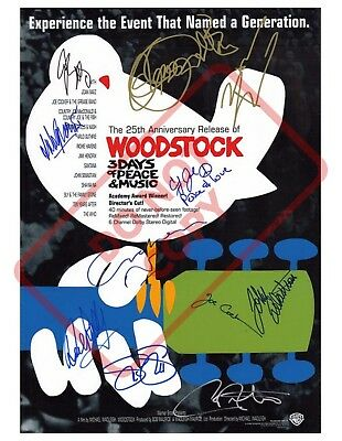 8.5x11 Autographed Signed Reprint RP Photo Woodstock 25th Anniversary