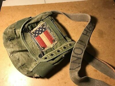 Vintage Field Pack Canvas Bag US Army Military Olive Green Backpack Flag Patch