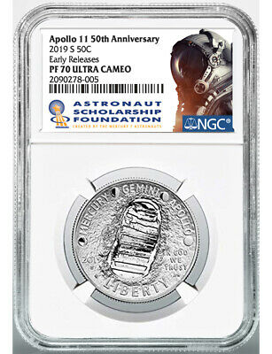 2019-S 50C Clad Half Dollar Coin Apollo 11 50th Anniversary NGC ER White Core...