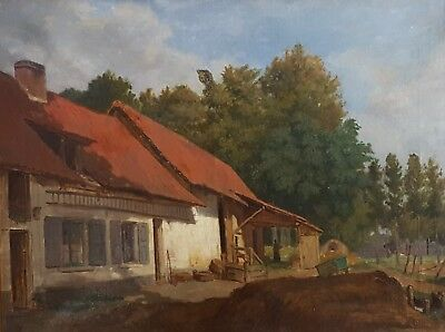 Antique Oil Landscape Painting, 19th Century French Farmyard Painting, Unsigned