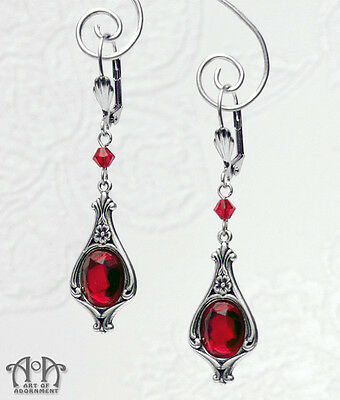 Gothic Antique Silver RUBY RED CRYSTAL EARRINGS Victorian Style Dangle Drop E47