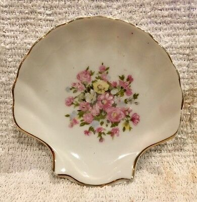 Vintage Scallop Shell Shaped China Tidbit Trinket Plate Pink Flowers Floral