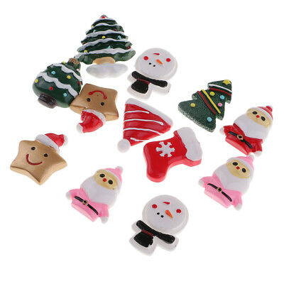 12pcs Resin Christmas Themes Flatback Embellishments for DIY Hair Bow Crafts