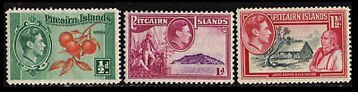 Pitcairn Islands #1-3 Mint Light Hinged 3 Very Fine Scarce 1940 Stamps Scv $2.65
