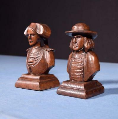 """*6"""" Pair of French Antique Hand Carved Breton Chestnut Figures"""