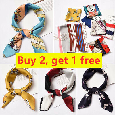 Small Vintage Women Gifts Silk Feel Satin Square Scarf Head Neck Hair Tie Band