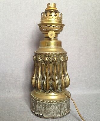 Antique french electrified oil lamp  made of brass repousse early 1900's