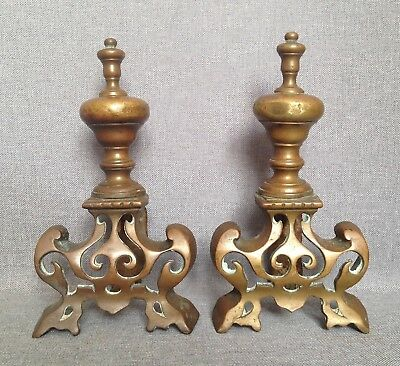 Small antique pair of bronze andirons France early 1900's fireplace