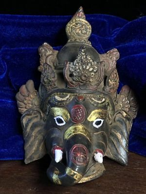 "6""China Antique Tibet copper handmade painting Elephant trunk God of wealth mask"