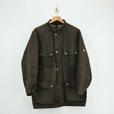 Vintage Belstaff Gold Label Roadmaster Style Waxed Cotton Biker Jacket L