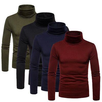 Fashion Mens Roll Turtleneck Pullover Jumper Tops Sweater Slim Shirt Warm Velvet