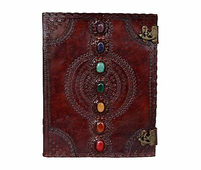 Leather Journal Seven Chakras Medieval Stone Embossed Handmade Book of Shadows