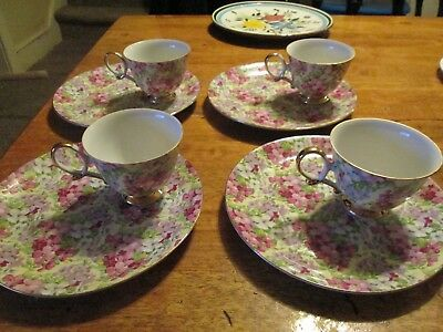 PINK CHINTZ  CHINA Marked 9306 --Shafford? 4 Snack Sets