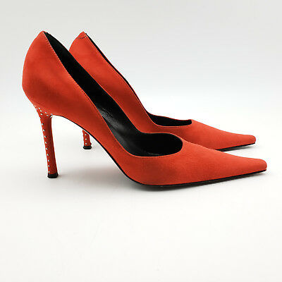 5af54b531a22 Cesare Paciotti Womens Pointed Toe Pumps Studded Stiletto Heels Red Suede Sz  39