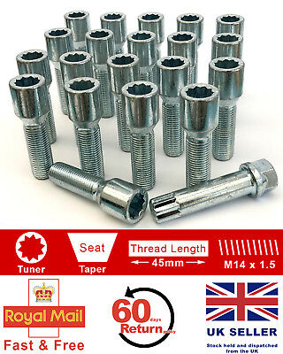20 black Extended Wheel Bolts tapered M12x1,5 55mm for Alfa Romeo BMW .