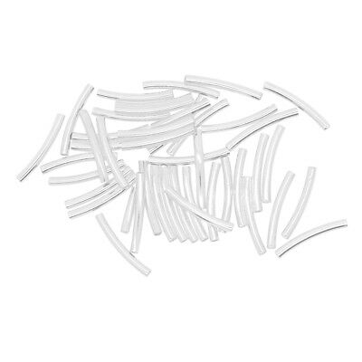 50Pc 2.7mm Smooth Curved Tube Noodle Beads Jewelry Finding DIY Making 25x3mm